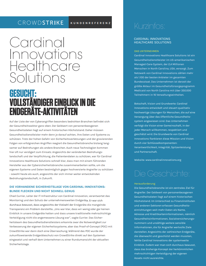 CARDINAL INNOVATIONS HEALTHCARE SOLUTIONS